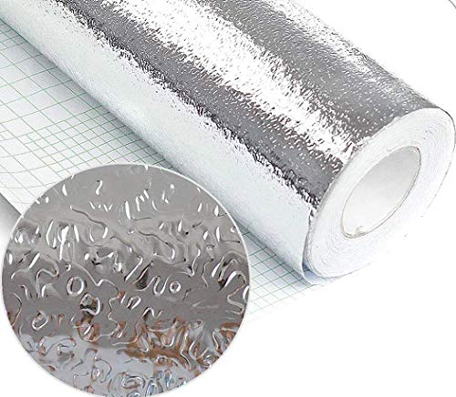 Kitchen Backsplash Sticker, Aluminum Foil Wallpaper Waterproof Oil Proof High Temperature Resistant Self Adhesive Shelf Liner Contact Paper for Kitchen Wall Cabinet Countertop 15.8'' x 78.7'' by Walldecor1