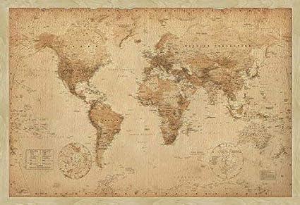 circa 38 x 26 Pollici 96.5 x 66 cm Mondo Tavola Mappa Cornice in Legno di Quercia