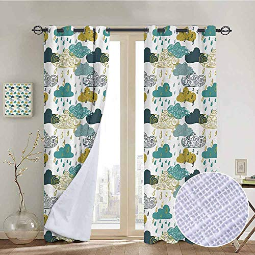 (NUOMANAN Customized Curtains Autumn,Several Spiral Vortex and Grunge Distressed Clouds Rain in September Icon Image,Blue Mustard,Blackout Thermal Insulated,Grommet Curtain Panel 1 Pair84 x100)