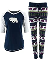 Lazy One Women's Blue Fair Isle Bears Pajama Set