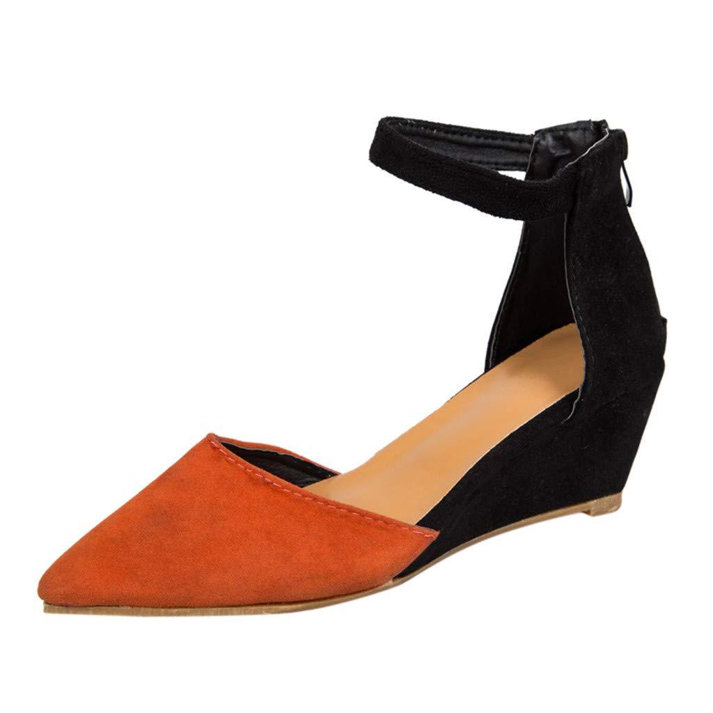 [FULFUGO] 01女性のファッションソリッドカラーカジュアル尖ったつま先ウェッジサンダル足首ストラップジッパーシングルシューズ B07QRTGM1T 42|オレンジ オレンジ 42