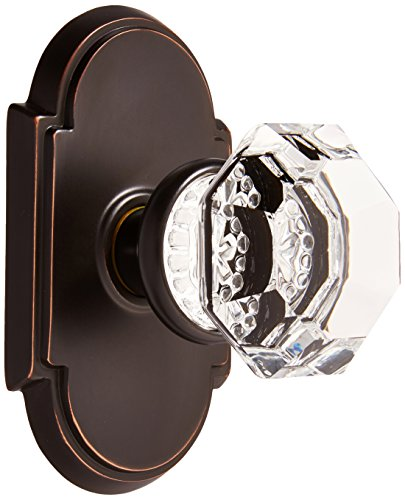 Old Town Crystal Knobs - Arched Rosette Set with Old Town Crystal Knobs Privacy in Oil Rubbed Bronze. Doorsets.