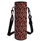 iPrint Water Bottle Sleeve Neoprene Bottle Cover,Camouflage,Army Uniform Design Color Bursts Environment Hiding Concealment Decorative,Dark Brown Redwood Peach,Fit for Most of Water Bottles