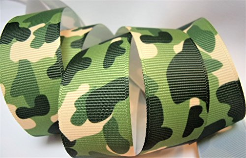 (Grosgrain Ribbon - Green Camouflage - 1