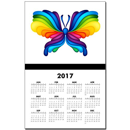 Calendar Print w Current Year Rainbow Butterfly
