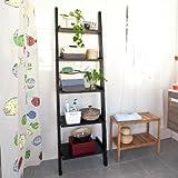 SoBuy Leaning Ladder Book Shelf Made of Wood with Five Floors, Bookcase, wall shelf, 56x189cm FRG17-SCH,black