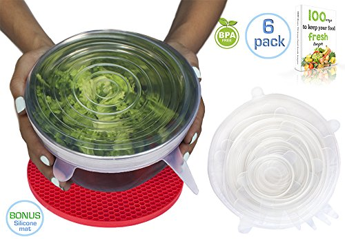 6 Money-Saving Silicone Stretch Lids with BONUS Pot Holder Trivet | 3 Colors | Reusable, Expandable, Durable, Versatile Food Covers | for Bowls, Containers, Cans, Mason Jars, Mugs