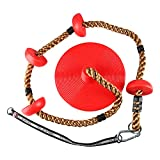 YaeGoo 6.5 ft Tree Climbing Rope and Kids Swing: Climbing Rope for Kids with Foot Hold Platforms, Disc Tree Swing Seat, and Hanging Kit with Tree Strap - Outdoor Swings and Swing Set Accessories - Rope Swing, Red