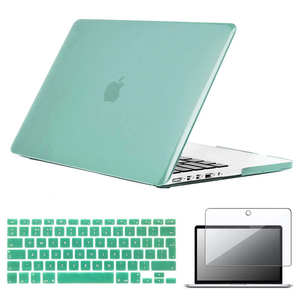 """UK//EU layout Silicone Keyboard Cover FINDING CASE Bundle 3 In 1 Rubberized Matte Case For Macbook Pro 13 inch with retina display A1502//A1425,13/"""" Hard Case Screen Protector Wine red"""