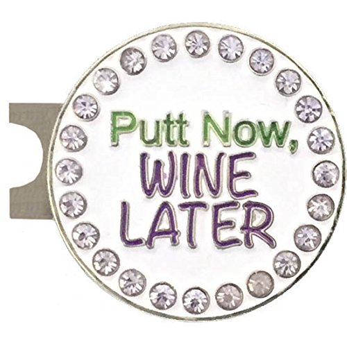 (Giggle Golf Bling Putt Now, Wine Later Golf Ball Marker with A Standard Hat Clip)
