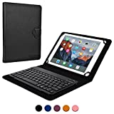 9 - 10.1'' inch tablet keyboard case, COOPER BACKLIGHT EXECUTIVE 2-in-1 Backlit LED Bluetooth Wireless Keyboard Leather Travel Carrying Cases Cover Holder Folio Portfolio Stand with 7 Colors (Black)