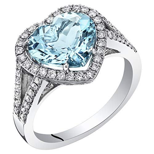 Santa Maria Dress - 14K White Gold IGI Certified Aquamarine and Diamond Ring 3.52 Carats Total Weight Heart Shape