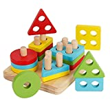 KanCai Wooden Stacking Toys & Shape Sorting Board | Geometric Shape Stacker | Early Childhood Development Toys for Fine Motor Skills Puzzle Toys for age 3 4 5 Years Old and Up Kid