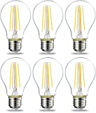 AmazonBasics LED E27 Edison Screw Bulb, 7W (equivalent to 60W), Clear Filament - Pack of 6