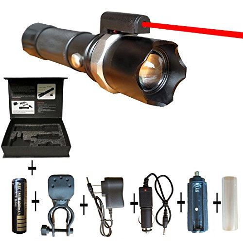 Tactical Laser LED Flashlight Super Strobe Bright Flashlight with Laser Multi-function Charge Flashlight Ultra Bright and Bicycle Flashlight Mount Infrared Flashlights High Lumens
