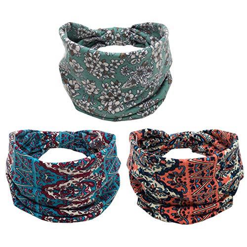 K-Elewon 3 Pack Women Wide Elastic Turban Head Wrap Headband Sports yoga Hair Band (3 Pack(A08))