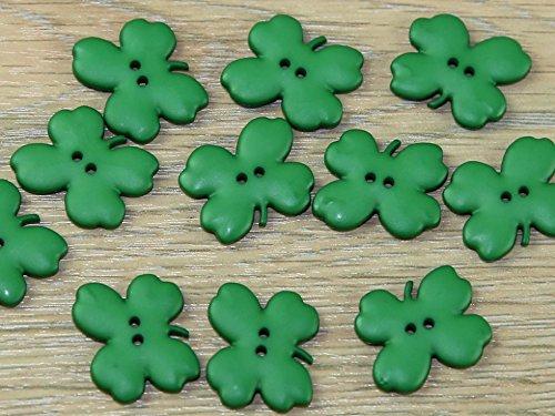 Dill Cloverleaf Shaped 2 Hole Buttons Emerald Green - per button