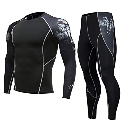 e395f4ce04b04 UY Men's Compression Run Jogging Suits Clothes Sports Sets Long Sleeves Tights  T Shirt