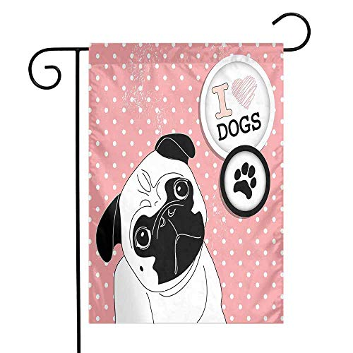 Mannwarehouse Pug Garden Flag I Love Dogs with a Paw Print Emblem Pug with Tilted Head Cute Fun Animal Print Premium Material W12 x L18 Pink Black White