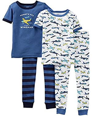Carter's Baby Boys' 4 Piece Pant PJ Set (Baby) - Airplanes