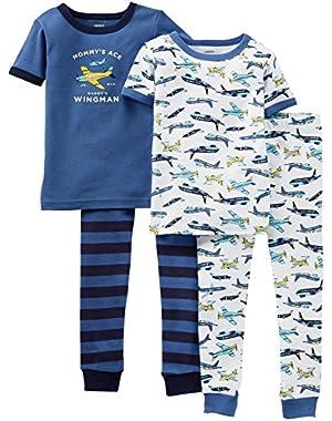 Carter's Baby Boys' 4 Piece Pant PJ Set (Baby) - Airplanes