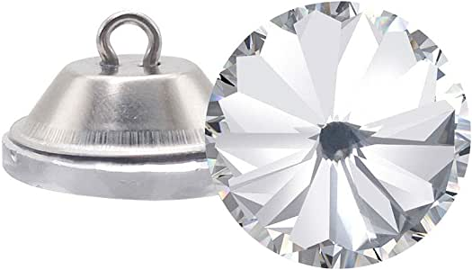 Wholesale 25 PCS 25MM Clear Glass Rhinestone Upholstery Buttons Diamond Shank Craft Embellishments Bulk for Tufting Sofa Headboard 25