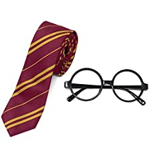 For Harry Potter Novelty Glasses and Tie Costume Accessories for Christmas (Red)
