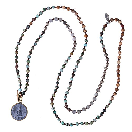- KELITCH Round Sakyamuni Buddha Strand Necklace Newest Long Beaded Pendant Necklaces (Blue 93A)