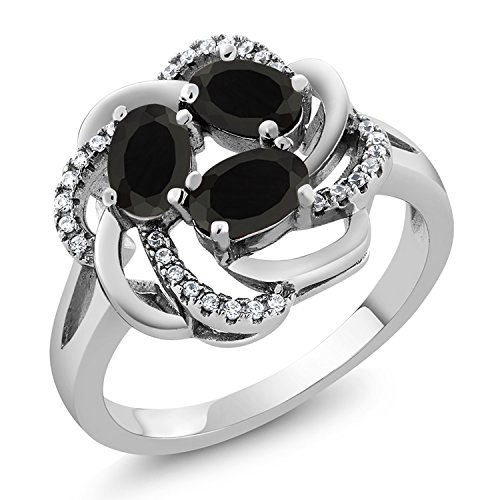 Gem Stone King 925 Sterling Silver Black Onyx Women s Ring 1.54 Cttw Gemstone Birthstone Available 5,6,7,8,9