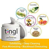 tingl Glycolic Acid Pads and Face Toner. Natural Facial Exfoliator Pads with Salicylic Acid, Lactic Acid and Natural Extracts. Acne Treatment and Anti-Aging Treatment