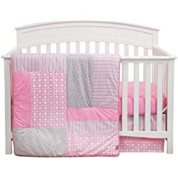 Trend Lab Lily Crib Bedding Set Pink and Grey