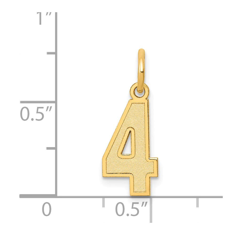 14k Yellow Gold Number 4 Pendant Four Digit Charm Satin Small