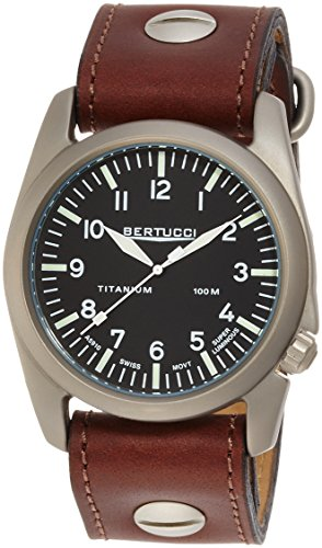 Bertucci A-4T Aero Vintage Watch Black/Ti-Dk Tan w/screws...