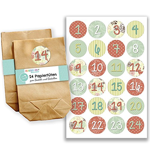 Papierdrachen Advent Calendar Mini Set with 24 Number Stickers and Paper Bags - DIY Set - for Making and Filling - Stickers No 24