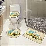 lacencn Landscape Printed Bath Rug Set Doha Historical Arabian Qatar Avant Garde Watercolor Panorama with Brush Strokes 3 Piece Toilet Cover set Multicolor