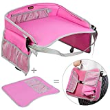 Kids Travel Tray EocuSun Childrens Snack Play Trays with Mesh Pockets and Cup Holders for Car Seats Snacks Bus Train and Plane Journeys (Pink)