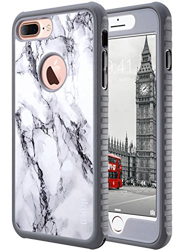 ULAK iPhone 7 Plus Case, 7 Plus Marble Slim Shockproof Flexible TPU Bumper Case Durable Anti-Slip Lightweight Front and Back Hard Protective Safe Grip Cover for iPhone 7 Plus 5.5 inch, Marble Pattern