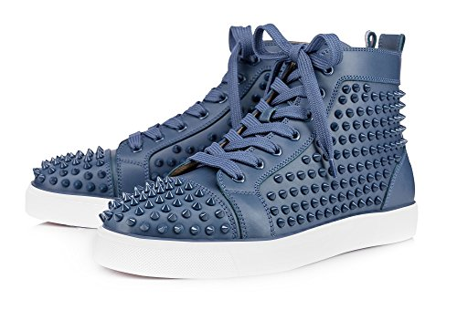 ZXD Studded Sneakers Fashion Round Toe Lace up High Top Trainers Skateboard Flats Sports Shoes Light Blue 11 Size