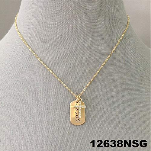 Gold Finish Engraved ''Jesus'' Dog Tag Rhinestone Religious Cross Charm Necklace