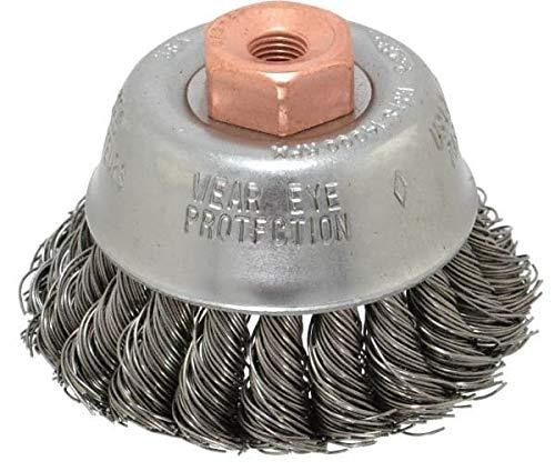 Osborn - 2-3/4'' Diam, 3/8-24 Threaded Arbor, Steel Fill Cup Brush - 0.02 Wire Diam, 14,000 Max RPM (3 Pack)