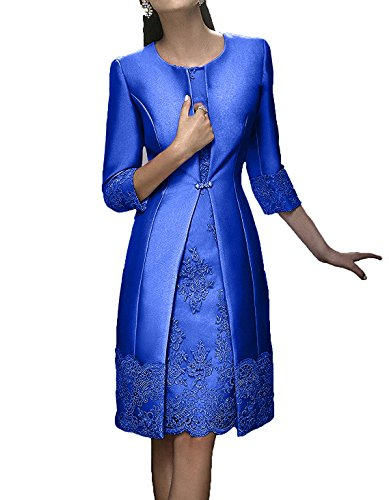 Charmant Brautmutterkleider Damen Langarm Abendkleider Royal Rosa Blau Kurz Ballkleider Knielang Elegant Festlichkleider trwrYqd4x