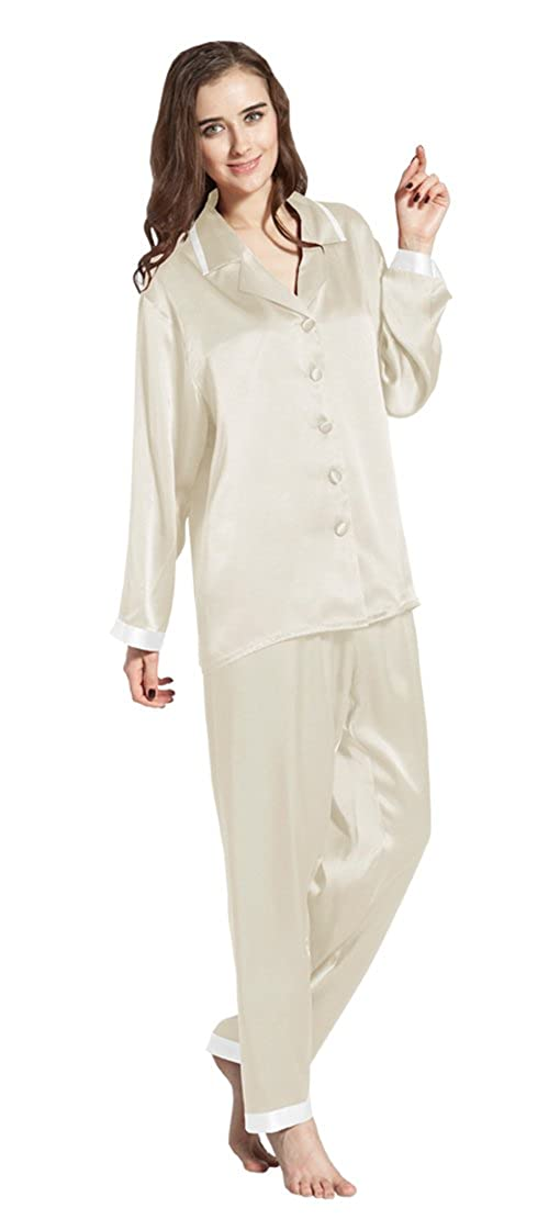 LilySilk Women s Long Silk Pajamas Set Gold Cuff Soft Luxury Ladies  Sleepwear 22 Momme Real Pure Mulberry Silk c0f5715f7