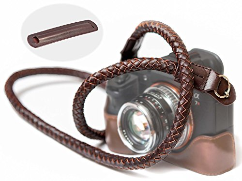 SupaDupa Leather Braided Camera Strap - Premium Quality - Men Women Neck Shoulder Sling Wrist For Sony Leica Fujifilm Canon Olympus Panasonic Nikon Pentax Binoculars Mirrorless + FREE Pad by SupaDupa Photo