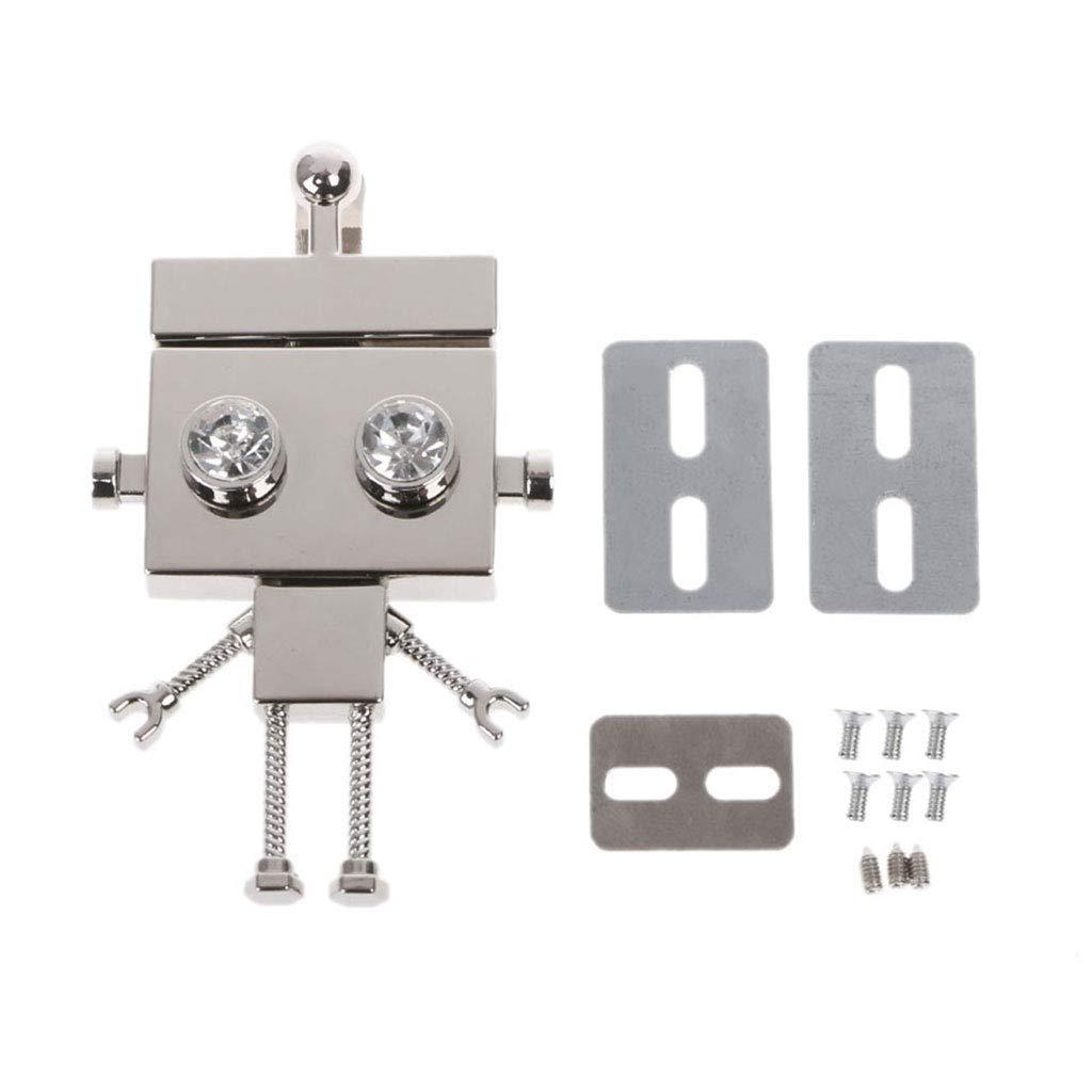 Junlinto、ロボット型クラスプターンロックツイストロックメタルハードウェア、DIYハンドバッグショルダーバッグ財布用 7.6x3.5cm/2.99x1.38inch シルバー 3TT700963-S_HHYB B07N1HHCMC シルバー