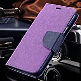 Thinkzy Artificial Leather Flip Cover Case for Oppo A3s (Purple, Blue)