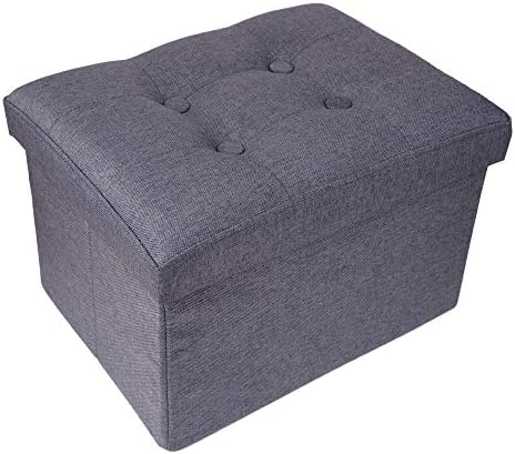Margot Foldable Storage Ottoman Footrest Seat Standard Ottoman Thickened Sponge Upholstered Stool Storage Seat Footrest Step Stool Gray
