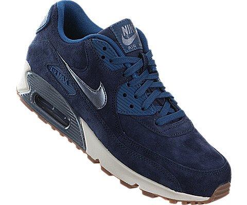 Nike Women's Air Max 90 Prm Suede Mid NvyMtlc Bl DskSlGhst Gr Running Shoe 7.5 Women US
