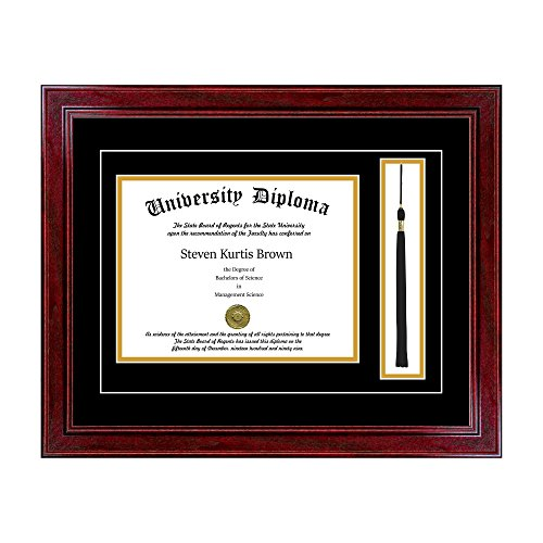 Single Diploma Frame with Tassel and Double Matting for 8.5'' x 11'' Tall Diploma with Cherry 1.5'' Frame by Perfect Cases