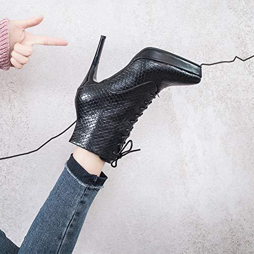 KPHY Damenschuhe Damenschuhe Damenschuhe Winter Flanell Absatz 10 cm Hoch Baumwolle Schuhe Spitze Dünne Sohle Schuhe Mode Baitie Martin Stiefel 131ea3