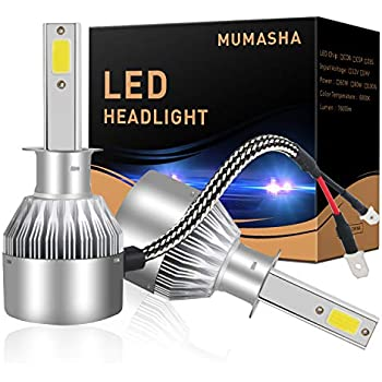 H1 Headlight Bulb, H1 Led kit Car Lights with COB Chips 7600 Lumens 6500K Cool White Beam Bulbs IP68 Waterproof All-in-One Conversion Kit H1